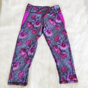 Kyodan Floral Crop Leggings with Side Pockets